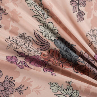 Viscose fabric large flowers on BEIGE