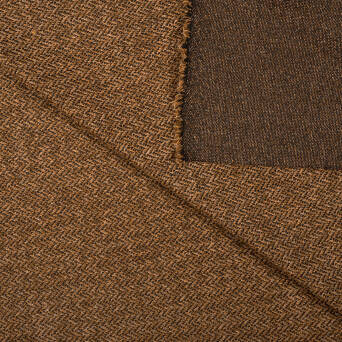 Knitted fabric with viscose HERRONGBONE REDDISH BROWN