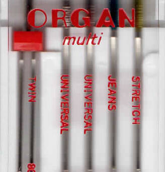ORGAN - MULTI needles 5 pcs. MIX / thickness 75, 90.80, 80/2