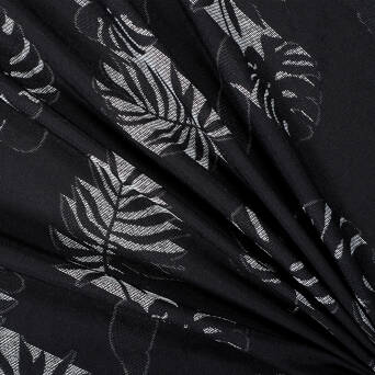 Embroidered Viscose fabric BLACK monstera leaves