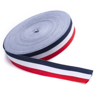 Gros tape knitted - navy blue - white -red - 30 mm