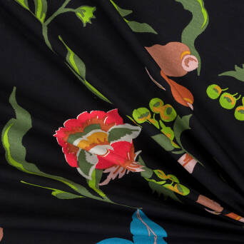 Viscose fabric PAINTED FLOWERS ON BLACK  #5069-05
