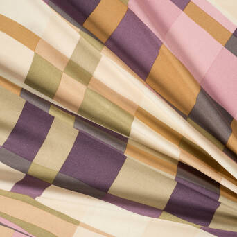 Viscose crepe fabric GEOMETRIC DOUBLE CREAM stripes