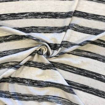 Knitted viscose fabric with linen - graphite stripes