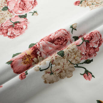 Elastic cotton fabric ROSES ON WHITE