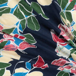 Viscose and cotton fabric LEAVES ON NAVY BLUE D46#01