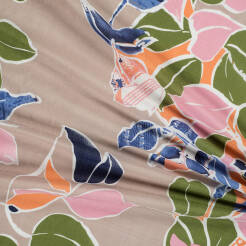 Viscose with cotton fabric LEAVES ON BEIGE D46#03