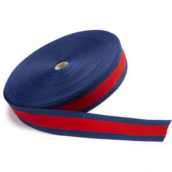 Gros tape knitted  - navy blue -red 30 mm