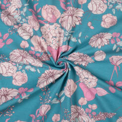 VINTAGE FLOWERS on GREY BLUE jersey 200g