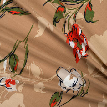 Viscose fabric flowers on beige
