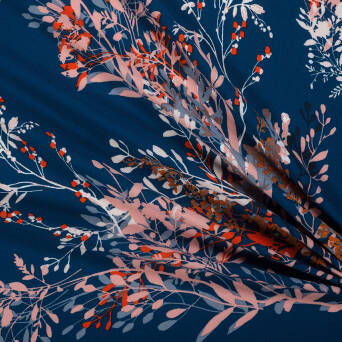 Viscose crepe fabric twigs on NAVY BLUE