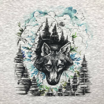 Night Wolf - PANEL - sweat  XL 80 x 80 cm