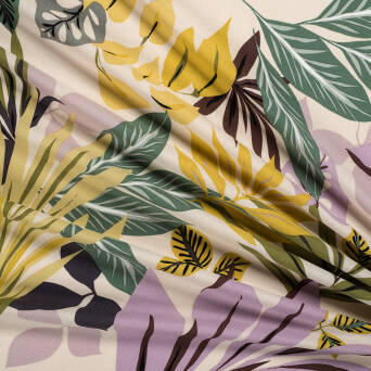 Viscose crepe LEAVES FRENCH VANILLA T1885-01