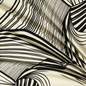 Viscose crepe fabric NON-EGLARGE stripes on vanilla