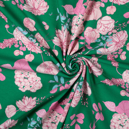 VINTAGE FLOWERS on SPRING GREEN jersey 200g