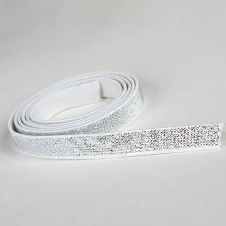 Rubber WHITE with metal thread SILVER 10 mm