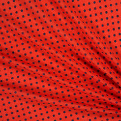 Viscose fabric Navy blue polka dots on red 82213-02