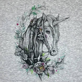 Flowers of the Unicorn - PANEL - jersey melange