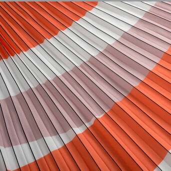 Pleated fabric orange/beige/white