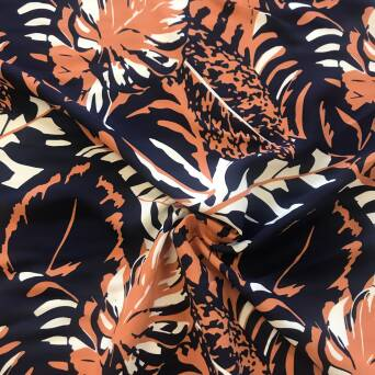Viscose fabric  flowers ORANGE on  NAVY BLUE