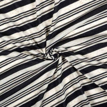 Knitted fabric with linen - BLACK STRIPES