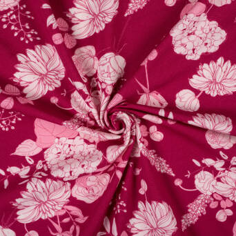 VINTAGE FLOWERS on MAROON jersey 200g