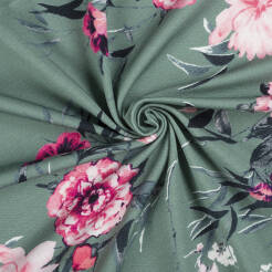 Blooming flowers on subdued GREEN Jersey 200g