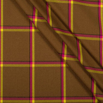 Check fabric BROWN WITH YELLOW AND FUCHSIA