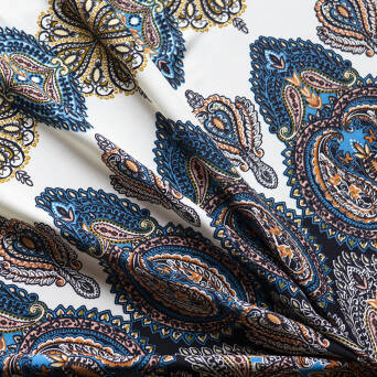 Viscose Fabric  BOHO black/cornflower