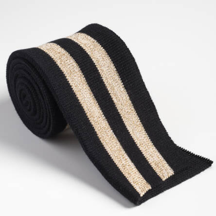 Folded ribbing  BLACK/GOLD XL 140 cm