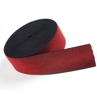 Rubber with metallic thread RED 50mm