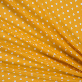 Viscose fabric white polka dots on yellow 81816-04