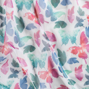 Soft Tulle - printed  COLOURFUL BUTTERFLIES