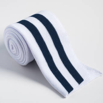 Folded ribbing  WHITE/NAVY BLUE