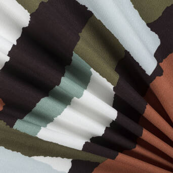 Viscose Fabric  PABLO mint/brown/olive