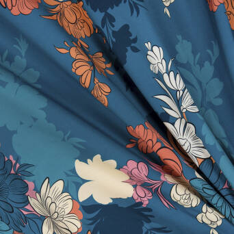Viscose  fabric large flowers on TURQUOISE