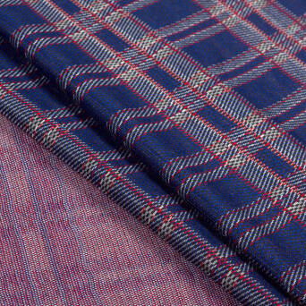 Knitted fabric check BLUE-RED 280g