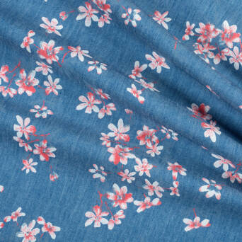 Jeans fabric coral flowers