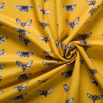 Bamboo - cotton fabric - Night butterflies HONEY