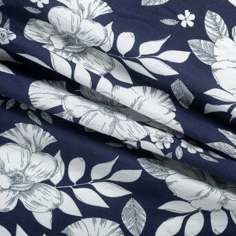 Viscose Flowers Sketch NAVY BLUE