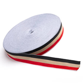 Gros tape knitted - black - beige - red  23 mm