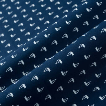 Elastic cotton fabric - granat boats