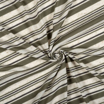 Knitted fabric with linen - OLIVE STRIPES