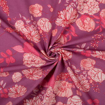 VINTAGE FLOWERS on PINK CHAMPAGNE jersey 200g