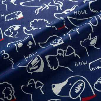 Cotton fabric DOGS on navy blue