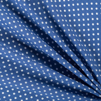 Viscose fabric small dots on blue