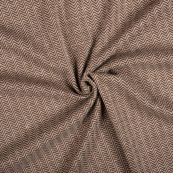 Knitted fabric with linen HERRINGBONE BROWN