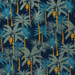 Elastic cotton fabric - PALM TREES on navy blue