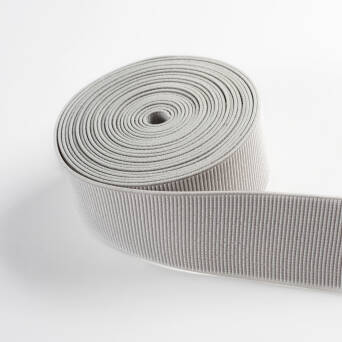 Rubber knitted vertical stripe GREY 50 mm