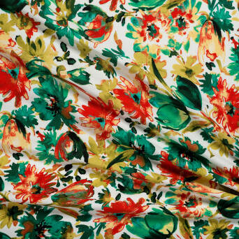 Viscose crepe GREEN TULIPS T1200-01